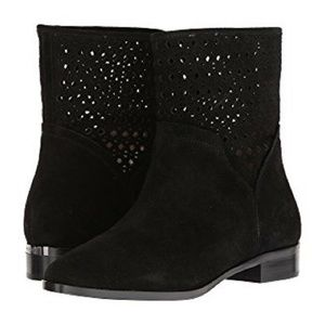 MICHAEL KORS Sunny Black Suede Perforated Boots